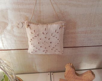 Door in old linen and cotton cushion