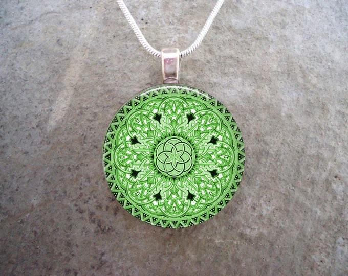 Celtic Jewelry - Glass Pendant Necklace - Celtic 32 Green