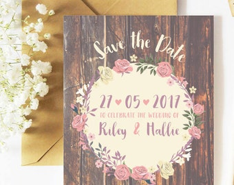 Rustic invitations, save the date card, save the date, wedding stationery, wooden effect, floral save the dates, wedding invitations, wooden