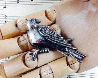Vintage Blue Eyed Bird Brooch