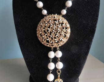 Vintage Wirework Glass Pearls Goldtone Round Pendant Necklace Long One of A Kind