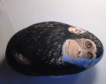 Chimpanzee  hand-painted stone with blanket