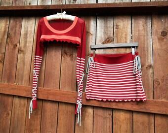 Small/Medium Up Cycled Sweater/ Mini Sirt/ Mori/ Woodland/ Fairy/ Yoga Cover Up/ Boho/ Hippie/ Bolero/ Shrug/ Surf Wear