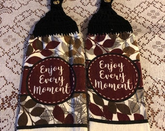 Enjoy every moment theme handmade crochet top decorative kitchen towel set