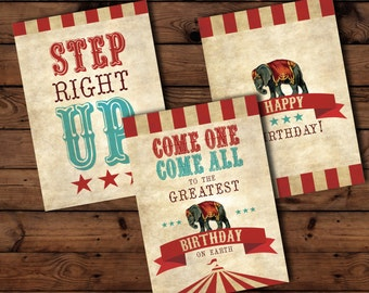 Circus Birthday Printables | Circus Birthday, Birthday Printables, Circus Poster Set, Circus Party Decor, Circus Decorations, Carnival Party