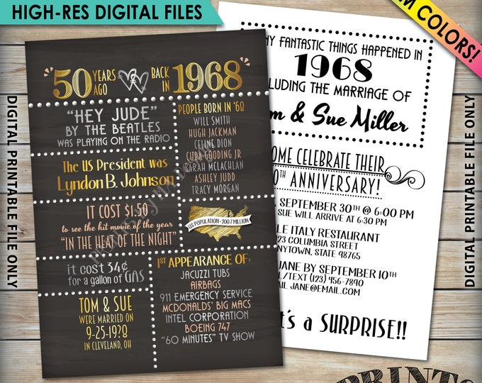 """50th Anniversary Invitation, 1968 Invite, Married  in 1968 Flashback 50 Years Ago, 50th Invite, 50th 5x7"""" Chalkboard Style Digital Printable"""