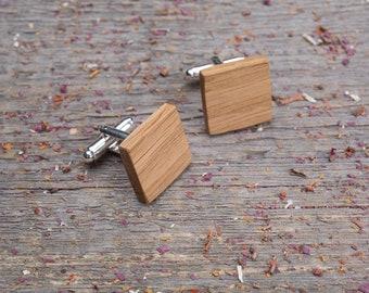 Wood Cufflinks Square oak wood cufflinks Wedding Cufflinks set of 2-4-6-8-10, groomsmen gift, boyfriend gift, personalization cuff links