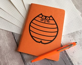 Cat Notebook - small dotted grid journal in orange featuring Nigel the cat - hand-printed, hand-stitched