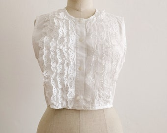 80s Benetton crop top with broderie anglaise ruffles