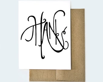 Handmade Thank You Card, Thank You Card, Thanks Card, Thank You Note, Thanks Card, Handmade Thanks Card