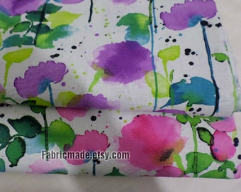 Summer Floral Cotton Linen Fabric, Watercolour Flower Style in Pastel Pink Blue Purple for Clothes Dress Bag- 1/2 yard