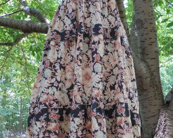Floral cotton dress tiered  frock 70s boho hippie festival roses medium  from vintage opulence on Etsy