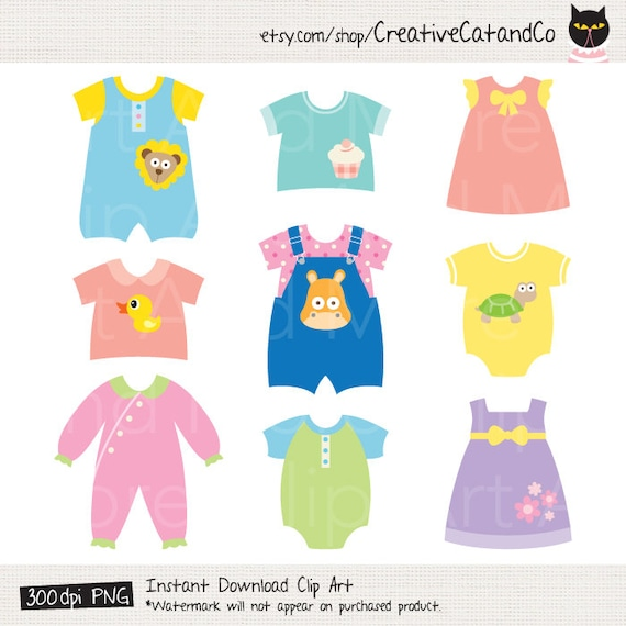 baby clothes clipart clip art cute baby dress children rh etsy com baby clothes clipart free baby clothes clipart download