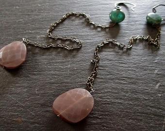 Chocolate Moonstone & Apatite Super Long Gemstone Earrings - Blackened - Oxidized - Etsy Jewelry- catROCKS - Shoulder Sweepers Grace Frankie