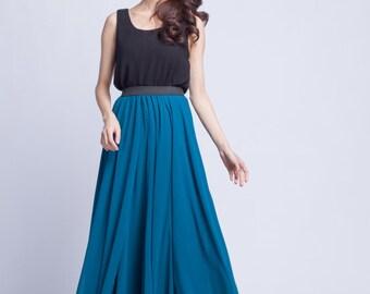 High Waist Bridal Skirt Chiffon Long Skirts Beautiful Elastic Waist Summer Skirt Floor Length Beach Skirt (101) ,14#