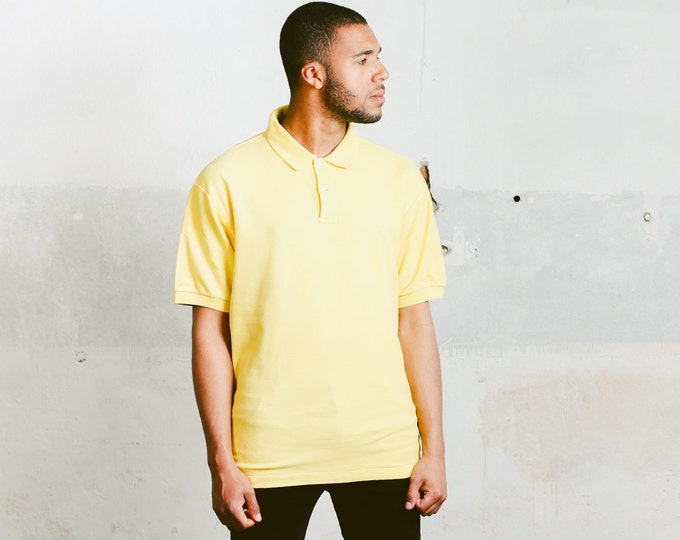 Yellow Fila Polo Shirt . Vintage Unisex Mens Yellow T-Shirt Minimalist Top Mens Sports T-Shirt Retro Cotton T-Shirt . size XL Extra Large