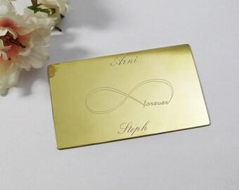Brass wallet insert infinity gift custom engraved infinity gift customised forever infinity wallet insert brass infinity personalised gift