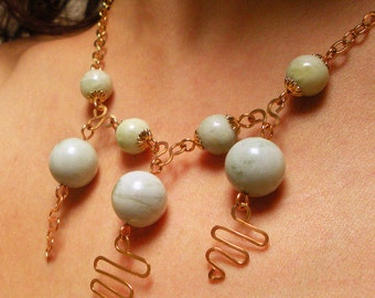 Pale Green Stone on Gold Chain Handmade Necklace