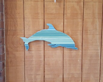 Dolphin Wall Hanging / Recycled Wood Dolphin / Nautical Decor / Dolphin Decor / Coastal Decor / Island Decor / Beach Decor / Dolphin