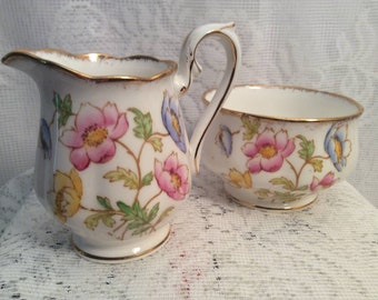 Rare Vintage Royal Albert Anemone Sugar Bowl and Creamer Fine Bone China With Gold Trim made in England Circa 1927 at duckduckgoosefinds