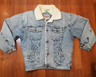 Vintage Buffalo Acid Washed Sherpa Lined Denim Jacket, Pristine Sherpa Denim Jacket, Size Mens Medium