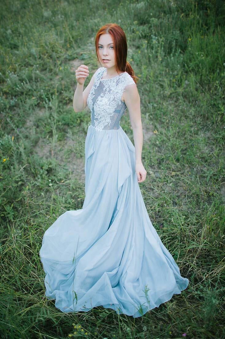 Hochzeitskleid grau / / Iris / Spitze Brautkleid Brautkleid