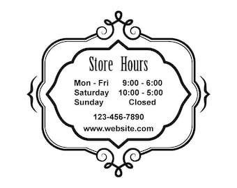 ID: BD00003; Custom Store Hours Vinyl Signs and Decals