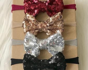Sparkle Bow Headband Set, Sparkle Bow Headband, Nylon Headband, Fall Headband, Baby Headband, Newborn Headband, Infant Headband, Headband