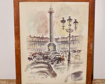 """Wood framed Paris print,Place Vendome,town square,monument,street lights,glass front,distressed frame,water color,Parisian city,9""""x11"""""""