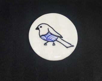 Signature bird brooch-blue