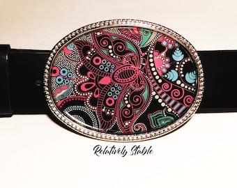 MANDALA belt buckle, black, blue, pink buckle for snap belts, western belt buckle