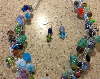 Bead Soup Necklace and Earrings
