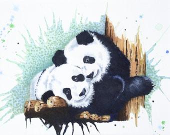 "The Panda Couple 8"" x 10"" Original Watercolor Illustration"