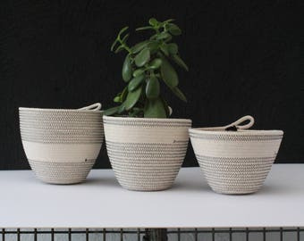 Trio of rope bowls - black // rope bowls / rope basket / rope vessel / succulent pot / jungalow style / urban jungle / planter
