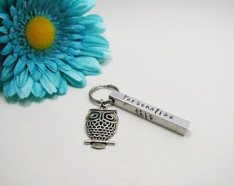 Owl Key Chain - Aluminum Bar Keychain - Personalized Keychain - Custom Keychain - Handstamped Keychain - Aluminum Keychain - Bar Keychain