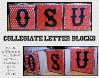 Collegiate Letter Block Set - Your School of Choice