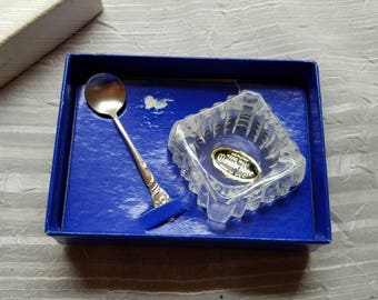 Vintage Westmorland Sterling Salt Cellar and Silver Salt Spoon Genuine Hand Made Cambridge Made in the USA Original Box Enchanting Orchid