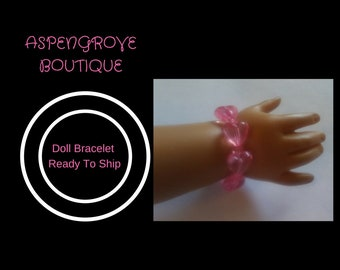 Doll costume jewelry Bracelet Ready to ship pink heart beads