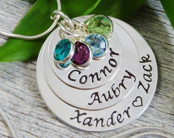 Hand Stamped Jewelry - Personalized Jewelry - Mother Necklace - Sterling Silver Necklace - Four Names Four Birthstones - Triple Stack