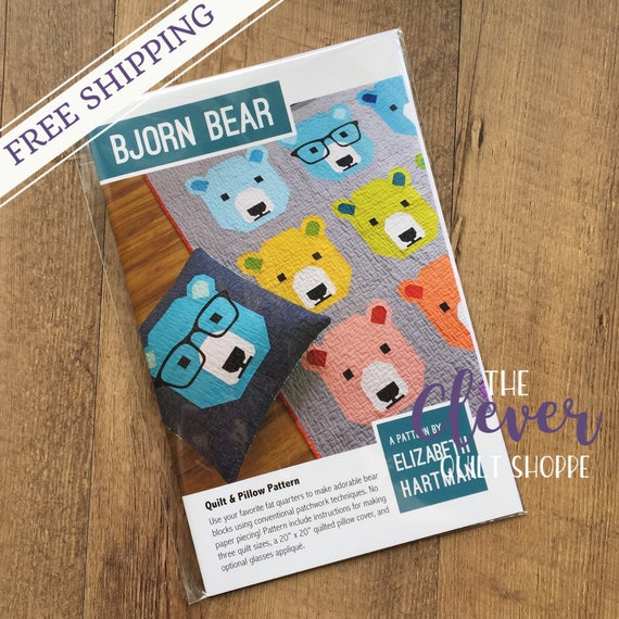 Bjorn Bear, Elizabeth Hartman, Quilt Patter (Pillow, Child, Lap or Picnic Quilt; Fat 1/4 Friendly)