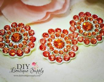 Halloween ORANGE Rhinestone Buttons - FLatback Metal Embellishment - Orange Crystal Buttons Headband Supplies flower centers - 22mm 769044