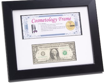 Black Business License & First Dollar Frame // 8.5x11-inch Frame with Mat // Business Frame // New Business Gift