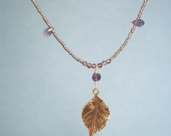 Sterling Silver Leaf Neacklace with Tiny Faceted iolite Beads and Silver Seed Beads-Delicate and Elegant