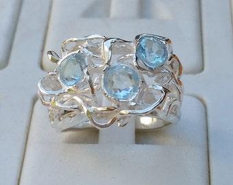 Blue Topaz Silver Ring ,Handmade Gemstones ring ,Statement Topaz Ring ,Birthstone Silver Ring ,Multistone Friendship ring ,Mother's Day Gift