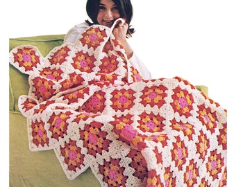 Granny Square Afghan Crochet Pattern Blanket or Throw Pattern Instant Download PDF - C47