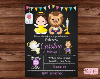 Beauty and the Beast Invitation - Beauty and the Beast Birthday Party - Belle Invitation - Princess Belle Invitation - Princess invitation.