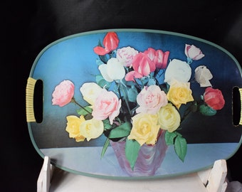 Floral Tray, Painted Roses Tray, Serving Tray