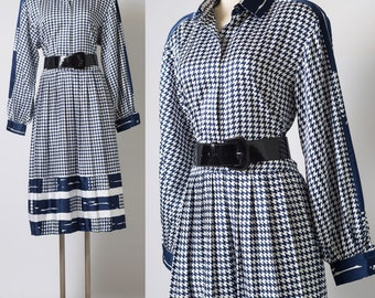 Vintage Dress, Vintage Houndstooth dress, 80s Dress, Vintage blue dress, Blue houndstooth dress, 80s secretary dress,Navy blue dress XL/1xl
