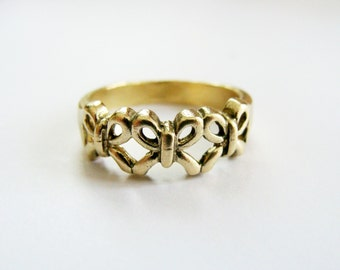 Bow ring gold - Metalwork solid brass ring - Gold Bow Stack Ring - Bow Stack Ring - Three Bow Mini Ring - Mini Tiny Bow Ring