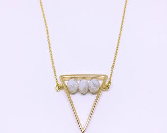 Geometric Necklace with Marble Crystals